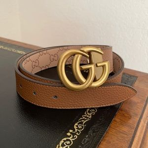 """Brown Leather """"GG"""" Marmont Belt"""